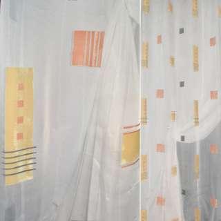 Вуаль деворе квадраты, прямоугольники желтые, оранжевые, молочная,