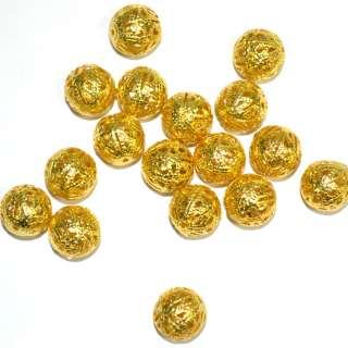 Бусина металлическая 14мм ажурная золото светлое