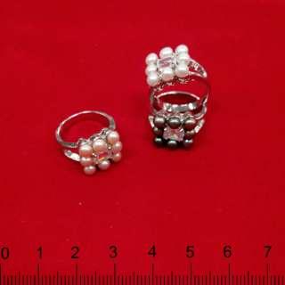 Кольцо металлическое с жемчугом