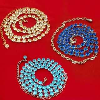 Пояс металлический с голубыми или белыми или синими стразами (70см без цепочки)