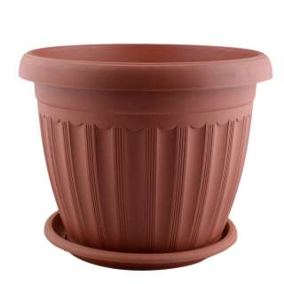 Вазон пластмассовый с поддоном 23х29,5х29,5см вн 23х27х27см коричневый