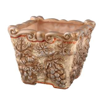 Кашпо в античном стиле керамика с виноградом квадрат 18,5х22х22см вн. 17х16х16см бежево-золотистое
