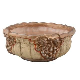 Кашпо в античном стиле керамика чаша с виноградом 13х30х30см вн. 11,5х24х24см бежево-золотистое