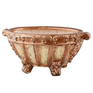 Кашпо в античном стиле керамика чаша на ножках овальное 17х40х21см вн. 13х29х16см бежево-золотистое