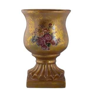 Кашпо в античном стиле керамика кубок с букетом 29х19,5х19.5см вн. 29х18х18см золотистое