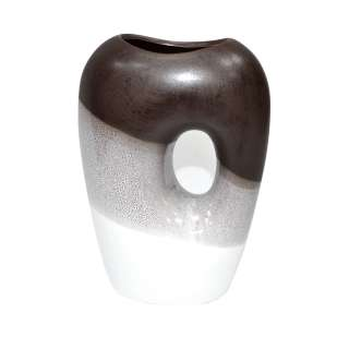 ваза керам. 3-цветная коричн-белая с овалом в центре, 20см