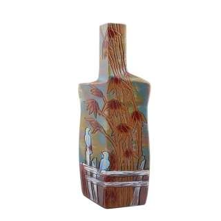 Ваза керамика бутылка граненая бамбук птицы 31х14х8 см голубая с коричневым