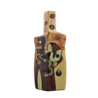Ваза керамика бутылка граненая пара 31 см желтая с коричневым