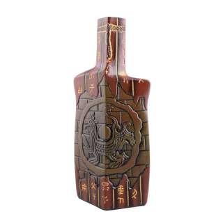 Ваза керамика бутылка граненая иероглифы 31 см коричневая