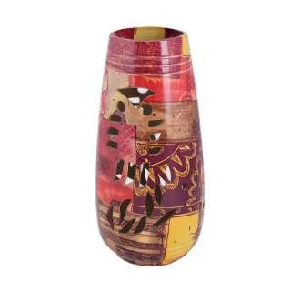 Ваза керамика перфорация сова лоскутки 24х11 см коричнево-красные