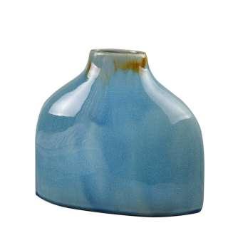 Ваза керамика плоская 27х30х11 см бирюзовая