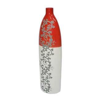 Ваза керамика с орнаментом серым 47 см красно-белая