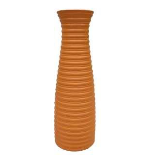 Ваза напольная керамика гофрированная 46 см оранжевая