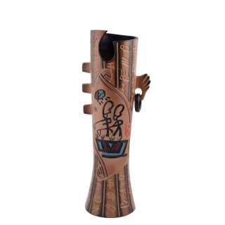 ваза керам. бежево-коричневая с китайской симв., в.34