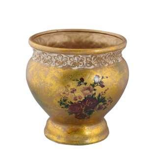 Кашпо в античном стиле керамика с букетом 21х19,5х19,5см вн 20х17,5х17см золотистое с белой отделкой