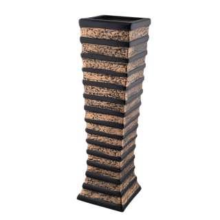 Ваза напольная керамика горизонтальные полосы 60 см золотисто-черная