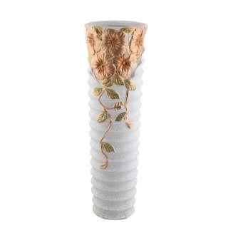Ваза напольная керамика гофрированная с золотистыми цветами 60 см белая