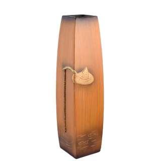 Ваза напольная керамика под дерево рыбалка 61 см коричнево-рыжая