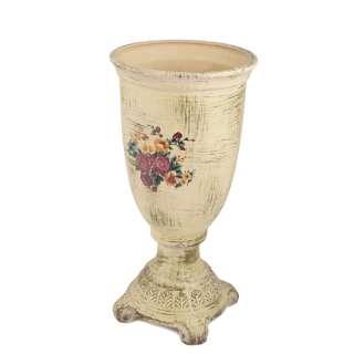 Кашпо в античном стиле керамика кубок с букетом 43х21,5х21,5см вн. 28х19х19см кремовое состаренное