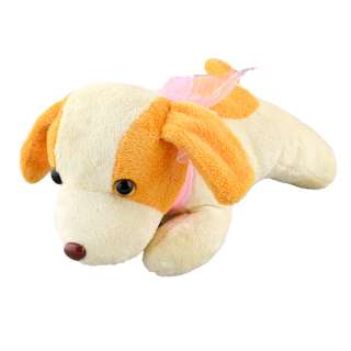 собака молочная с желтыми ушами и розовым бантом, 23см