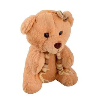 мягкая игрушка Мишка рыжий с шарфиком, 22 см