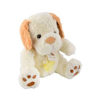 Мягкая игрушка собачка с шарфиком 28 см молочная с рыжими ушками