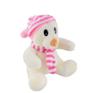 Мягкая игрушка мишка в полосатой розовой шапке с шарфиком 26 см белый