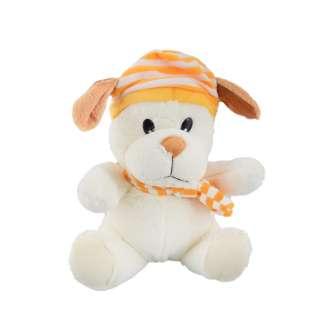 Мягкая игрушка собачка в полосатой желтой шапке с шарфиком 25 см молочная