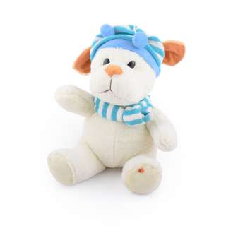 Мягкая игрушка собачка в полосатой голубой шапке с шарфиком 25 см молочная