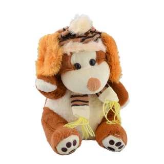 Мягкая игрушка собачка в шапке с шарфиком 30 см коричневая с белой мордочкой