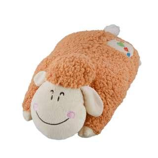 Мягкая подушка игрушка овечка 42 см высота 18 см бежевая