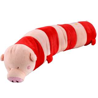 Мягкая подушка валик игрушка свинка 70 см высота 15 см розовая с красным