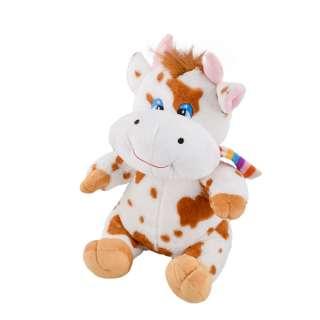 Мягкая игрушка корова сидит 35 см пятнистая белая с рыжим