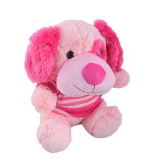 собака бледно-розовая в кофточке, 25 см