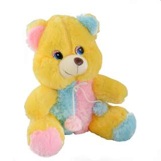 Мягкая игрушка мишка 35 см желтый с розовой и голубой отделкой