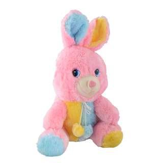 Мягкая игрушка зайка 30 см розовый с желтой и голубой отделкой