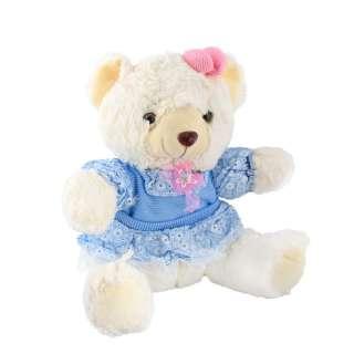 мягкая игрушка Мишка белый в голубом платье, 32 см
