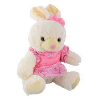 Мягкая игрушка зайка в розовом платье 32 см белый
