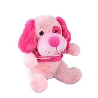 Мягкая игрушка собачка в кофточке 35 см розовая