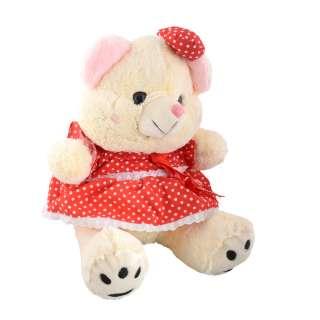 Мягкая игрушка мишка в красном платье 40 см кремовый