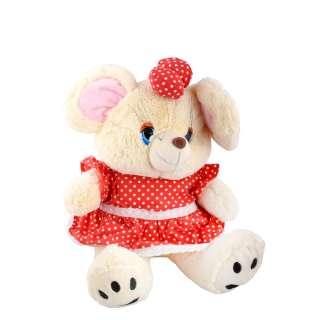 Мягкая игрушка мышка в красном платье с бантиком 39 см кремовая