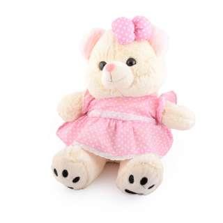 Мягкая игрушка мишка в розовом платье 40 см кремовый
