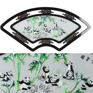 Картина вышитая гладь веер панда