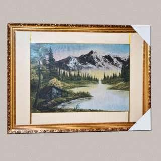 Картина гобелен под стеклом домик на берегу озера в горах