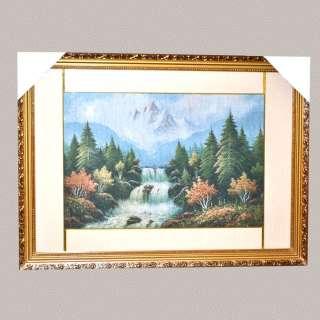 Картина гобелен под стеклом горы водопад