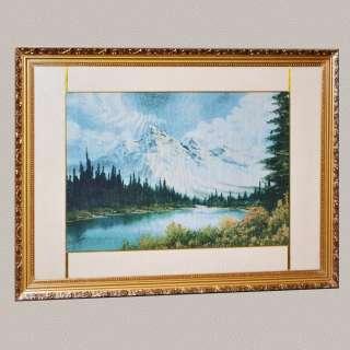 Картина гобелен под стеклом горы лес озеро