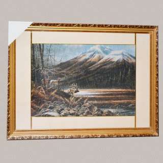Картина гобелен под стеклом горы олени
