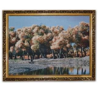 Картина гобелен рама с цветами 57х77 лес у озера