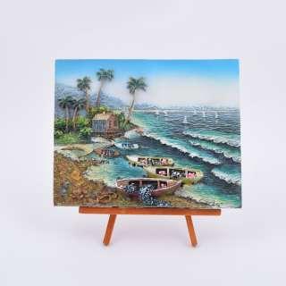 картина пластик на дерев. подставке Морской берег 18х22