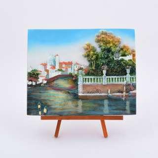 картина пластик на дерев. подставке Залив, лодки, 18х22